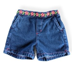 Denim blue jean shorts with flower embroidery